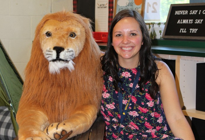 Miss Young and Leo the Lion