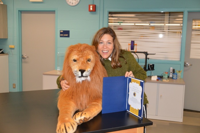 Mrs. LeMay ears the Lion's Pride award as a Lifelong Learner!