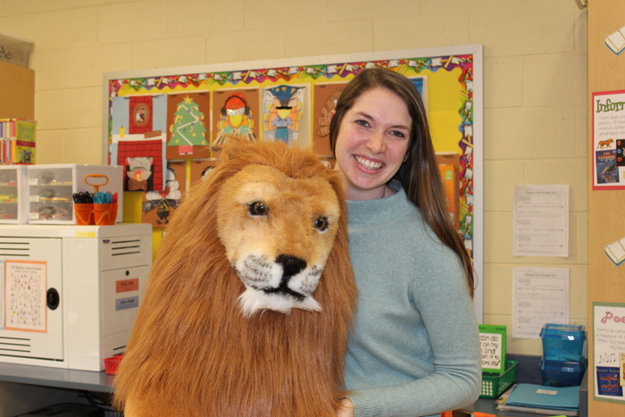 Ms. Piesla and Leo the Lion