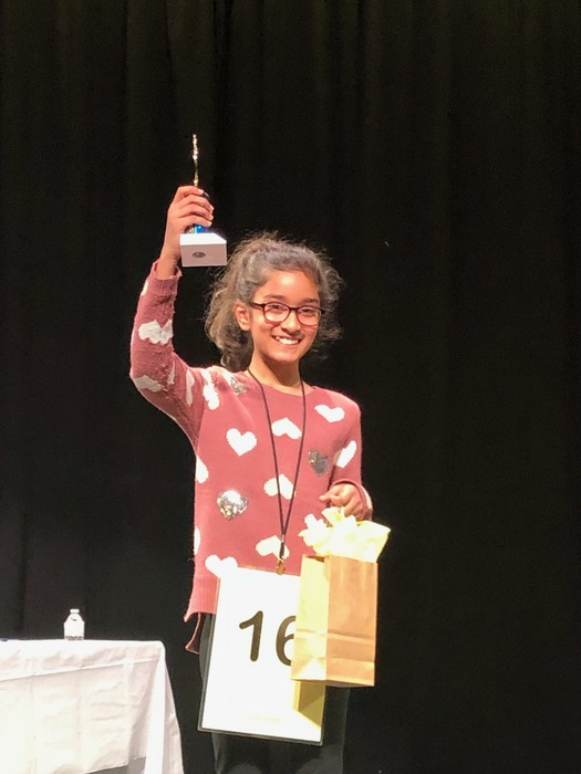 Zoya Ayub takes second place in town Bee.