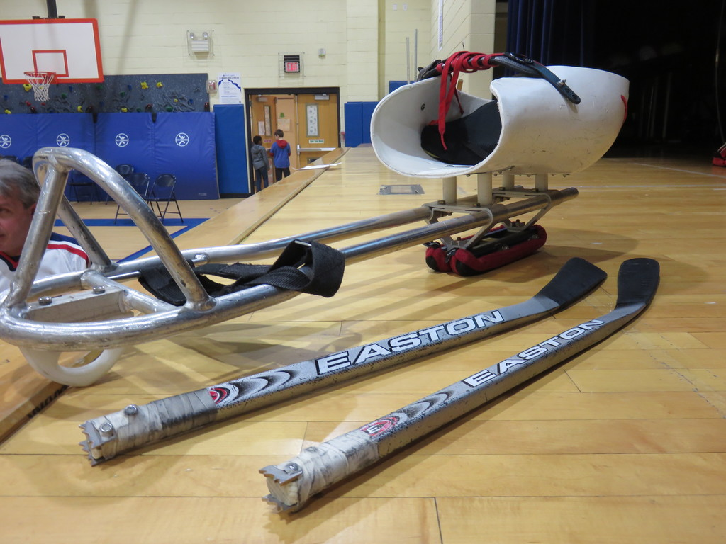 Sled hockey equipment for paralympians