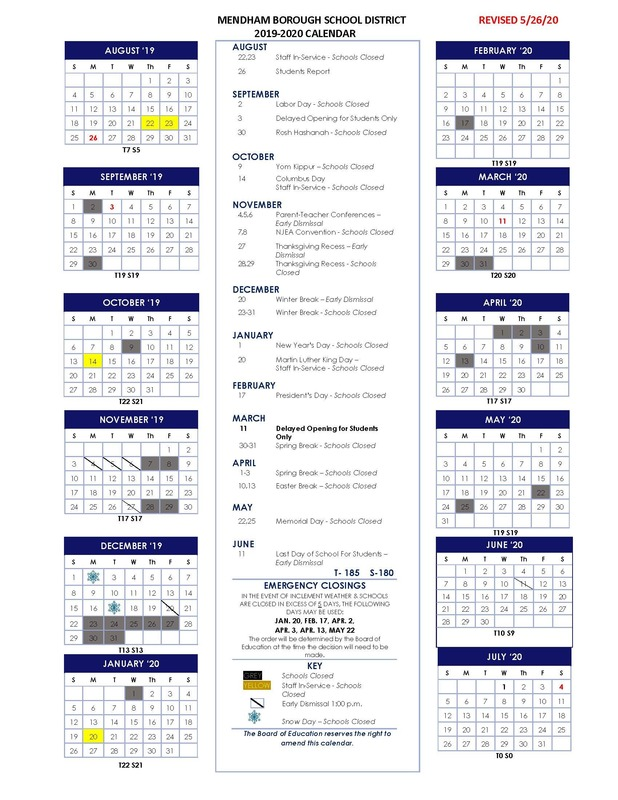 Revised 2019-2020 School Calendar