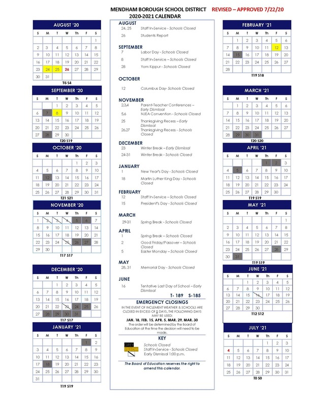 Revised 2020-2021 School Calendar