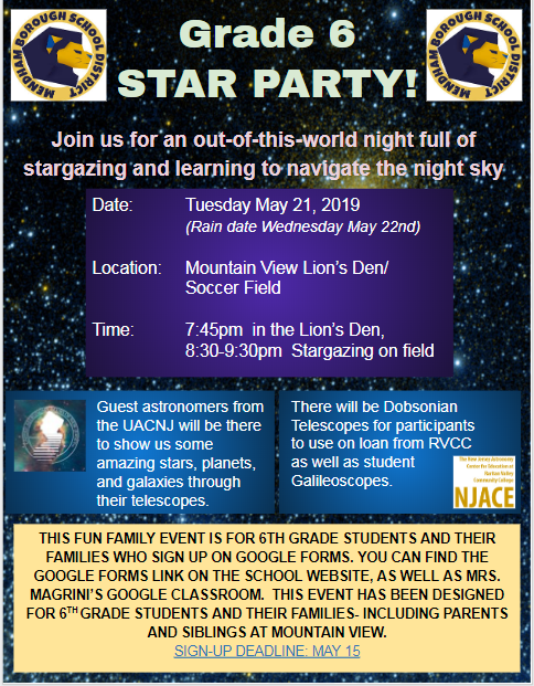 Annual 6th grade Star Party