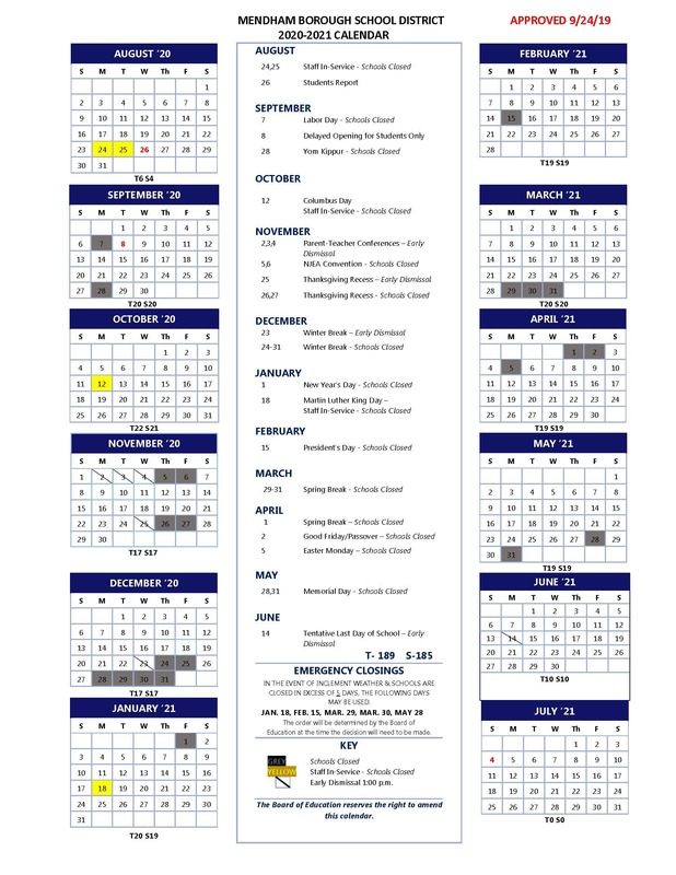 2020-2021 School Calendar Approved